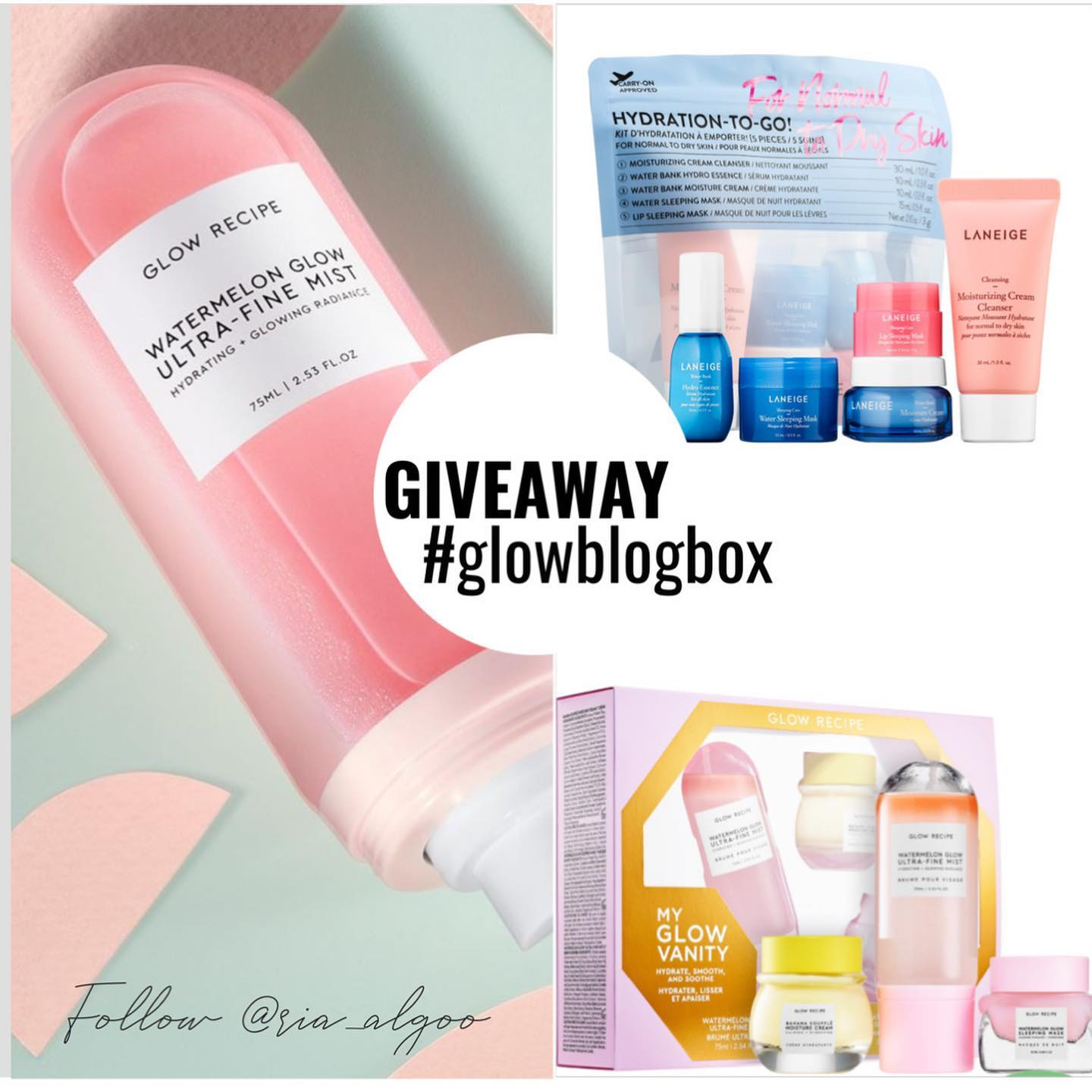 Win this ultimate dream kit - The  The range of products from @glowrecipe and @laneige_us are some of the best I have used and the products really do keep up to the promises and hype.  To enter simply like this post and follow @ria_algoo ,tag 3 friends below (in a different comment) and let me know which product/s you have your eyes on.   Please don't play the follow unfollow game here as you will be blocked and banned from all future giveaways. 30 random accounts will be shortlisted and 1 winner will be selected from a random LIVE draw done on August 15th 2020.  Good luck x